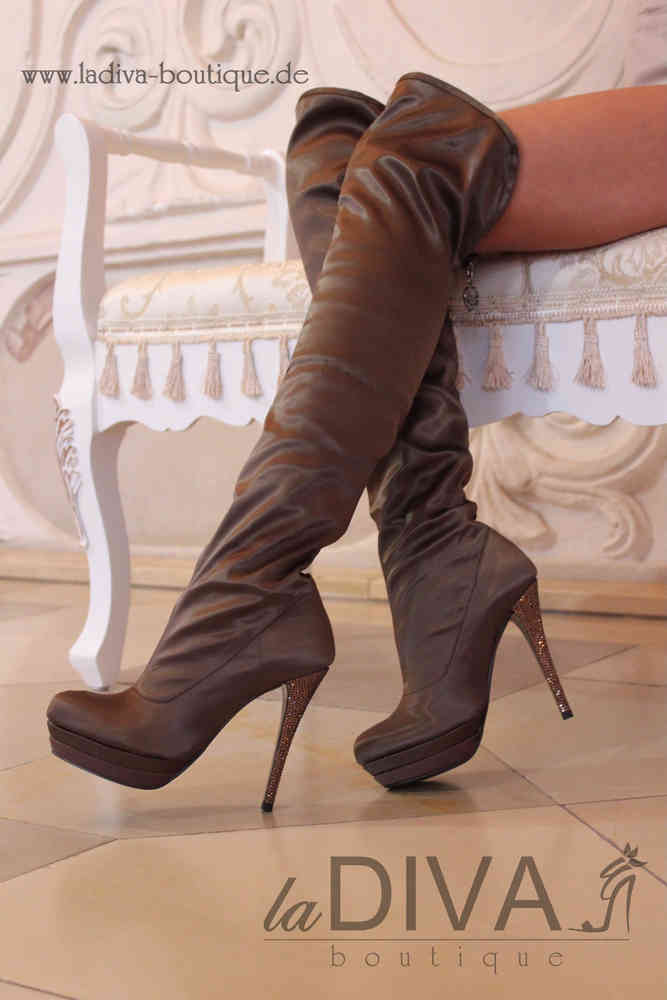 37184a52516309 ALBERTO VENTURINI ~ Italy Satin Overknee Stiefel mit Fell und Strassabsatz taupe  kupfer