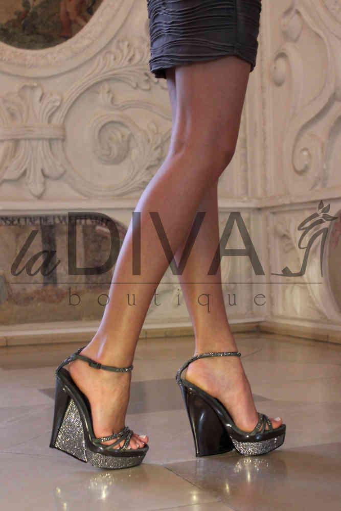 Venturini ~ Italy Sandaletten Keil Mit Strass Grau Alberto Wildleder CxBrdoe