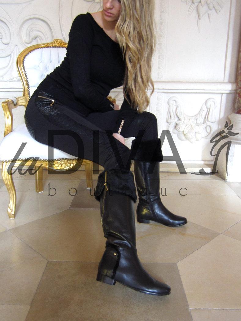 NAPOLEONI ~ Italy Leder Stiefel Overknee mit goldenem Reißverschluss und Fell schwarz