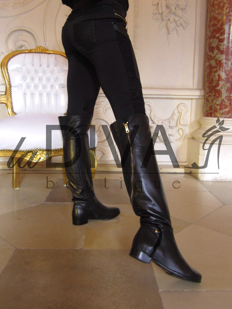 napoleoni italy leather overknee boots with golden zipper and fur. Black Bedroom Furniture Sets. Home Design Ideas