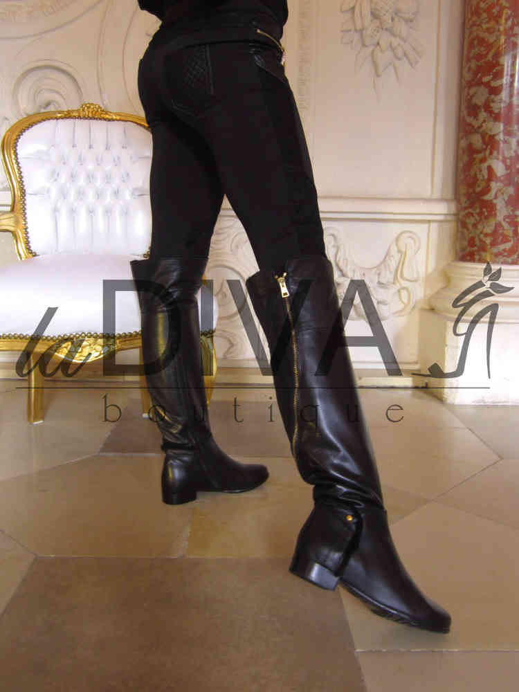 Stiefel Mit ~ Goldenem Leder Italy Napoleoni Overknee yYvf76gb